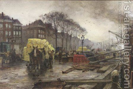 Labourers unloading cargo on a quay, Rotterdam by August Willem van Voorden - Reproduction Oil Painting