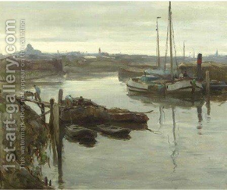 The inner harbour of Scheveningen by August Willem van Voorden - Reproduction Oil Painting