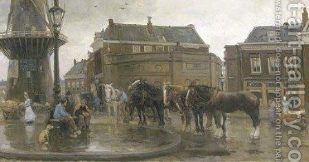 The meeting place by August Willem van Voorden - Reproduction Oil Painting