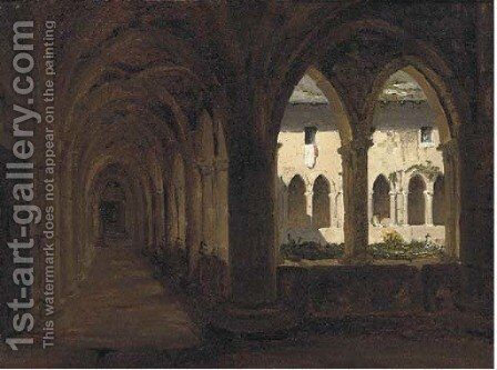 Study of a monastery, with figures beyond by Auguste Delacroix - Reproduction Oil Painting