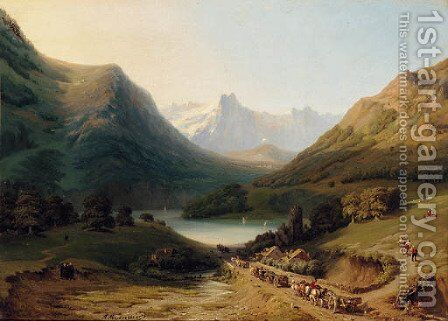 Travellers on their way to a lake by Auguste Dominique Mennessier - Reproduction Oil Painting