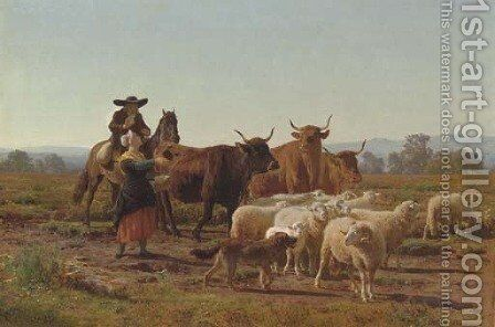 A Pastoral Scene by Auguste Bonheur - Reproduction Oil Painting