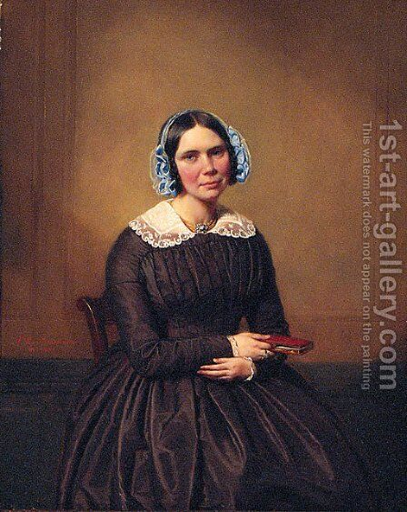 The Governess by Auguste Joseph Marie De Mersseman - Reproduction Oil Painting
