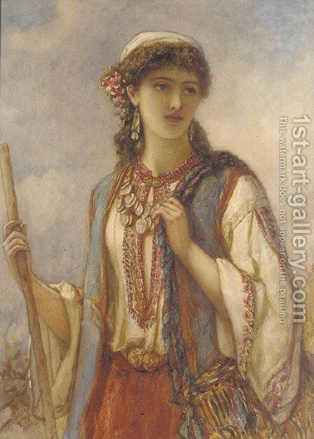The gipsy maid by Auguste Jules Bouvier, N.W.S. - Reproduction Oil Painting