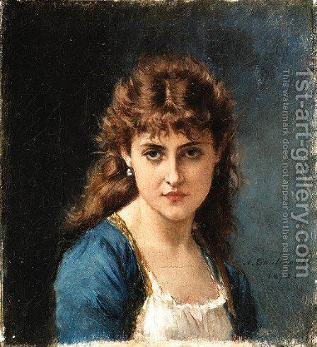 A lovely lady by Auguste Toulmouche - Reproduction Oil Painting