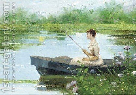A tranquil afternoon by Auguste Toulmouche - Reproduction Oil Painting