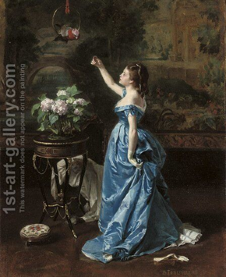 An exotic companion by Auguste Toulmouche - Reproduction Oil Painting