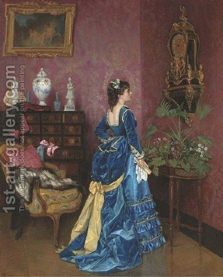 The Blue Dress by Auguste Toulmouche - Reproduction Oil Painting
