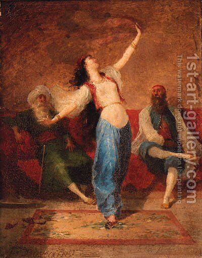 An Arab Dancer by Auguste Viande Doviane - Reproduction Oil Painting