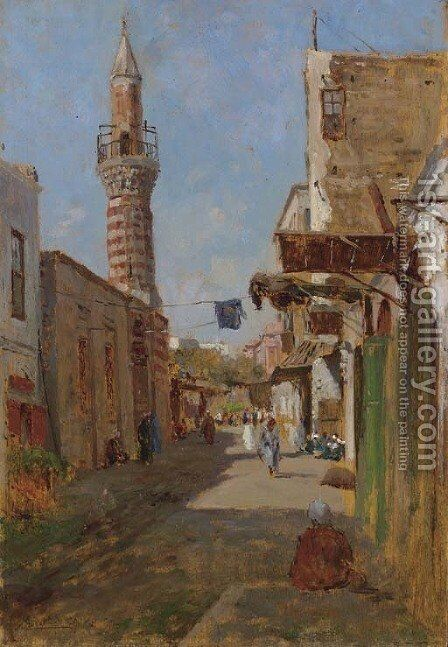 A Section of the main Street of the Fatimid area of al-Qahira (the heart of historic Cairo) with the Mosque of al-Fakahani by Augusto Lovatti - Reproduction Oil Painting