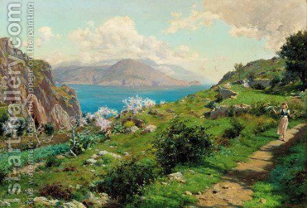 Farmgirls walking on the cliff tops, Capri by Augusto Lovatti - Reproduction Oil Painting