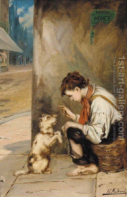 New tricks by Augustus Edward Mulready - Reproduction Oil Painting
