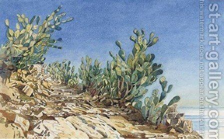 Prickly pears at Taormina by Augustus John Cuthbert Hare - Reproduction Oil Painting