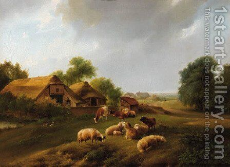 Summer landscape with live-stock in a meadow by Augustus Knip - Reproduction Oil Painting