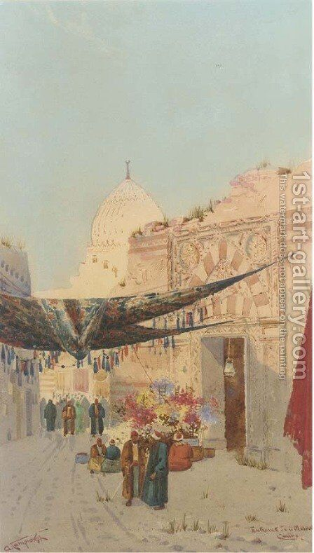 Entrance to a mosque, Cairo by Augustus Osborne Lamplough - Reproduction Oil Painting