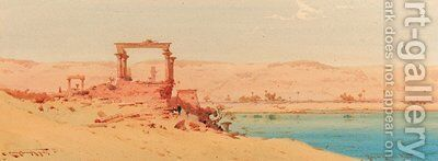 Ruins at Kerlossia, Nubia by Augustus Osborne Lamplough - Reproduction Oil Painting