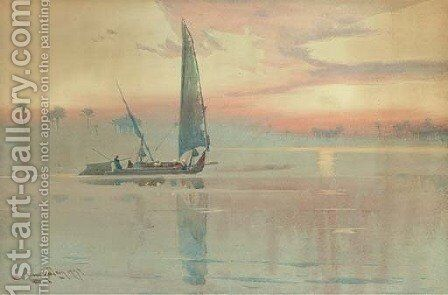 A felucca on the Nile at dusk by Augustus Osborne Lamplough - Reproduction Oil Painting