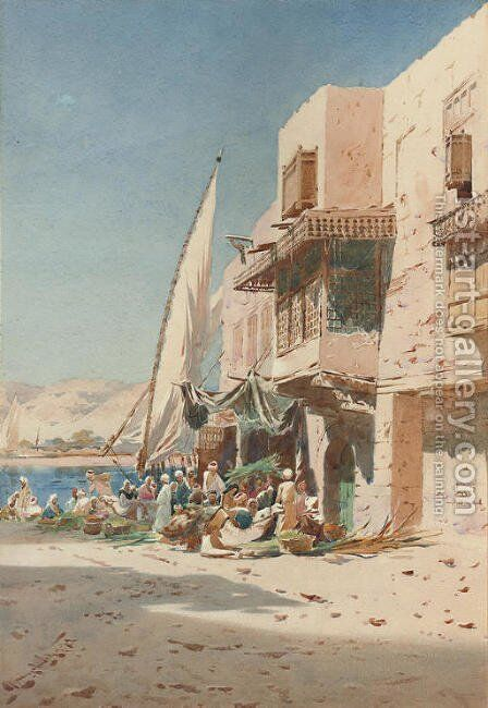 Arabs on a sunlit street before a mosque by Augustus Osborne Lamplough - Reproduction Oil Painting