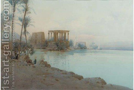 Isle of Philae by Augustus Osborne Lamplough - Reproduction Oil Painting