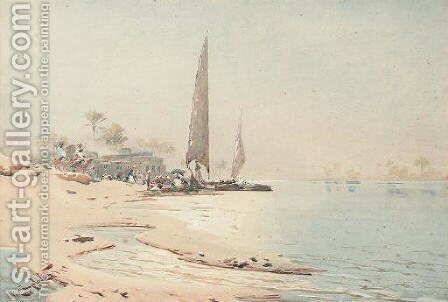 On the banks of the Nile by Augustus Osborne Lamplough - Reproduction Oil Painting