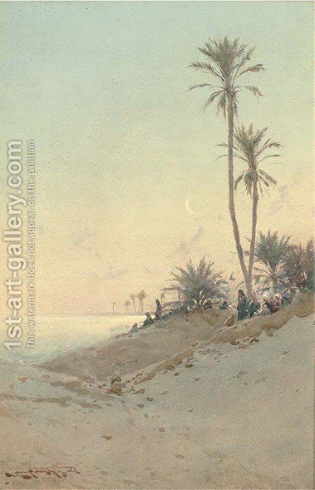 On the banks of the Suez Canal by Augustus Osborne Lamplough - Reproduction Oil Painting