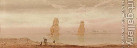 The Colossi of Memnon at sunset by Augustus Osborne Lamplough - Reproduction Oil Painting