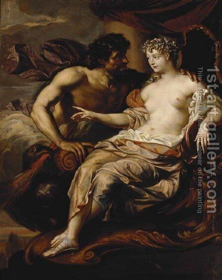 Portrait of Madame de Grignan as Hebe with Jupiter at her side by Augustus Terwesten - Reproduction Oil Painting