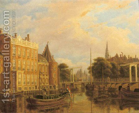 A view of the river Amstel with the Nieuwmarkt and Oude Kerk, Amsterdam by Augustus Wijnantz - Reproduction Oil Painting