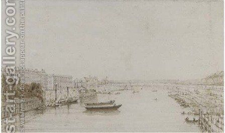 Pont Louis XVI from the Pont Royal, Paris by Augustus Charles Pugin - Reproduction Oil Painting