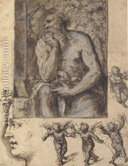 A hermit contemplating a crucifix, with studies of putti and a head in profile by Bernardino Luini - Reproduction Oil Painting