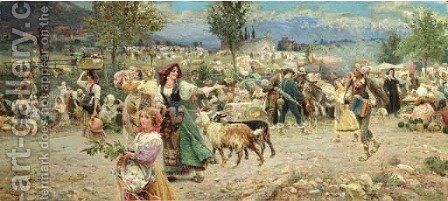 The Village Procession by Aurelio Tiratelli - Reproduction Oil Painting