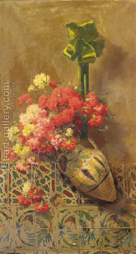 Red and white carnations in a ceramic vase by Aurelio Tolosa Alsina - Reproduction Oil Painting