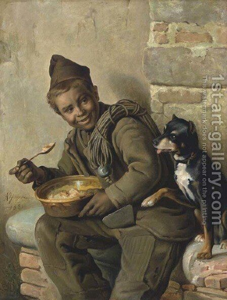 Meal Time for the Chimeny Sweep by Aurelio Zingoni - Reproduction Oil Painting