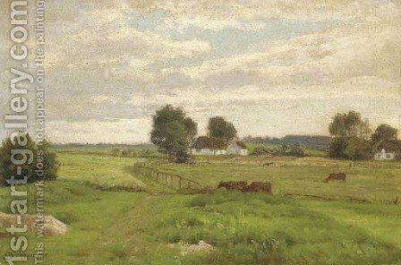 Cattle grazing in a meadow before a farmstead by Axel Birkhammer - Reproduction Oil Painting