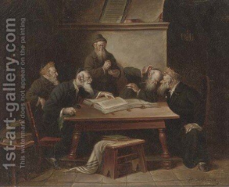 Rabbis in a debate by B. Werner - Reproduction Oil Painting