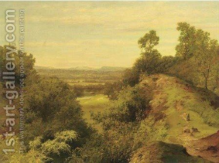 Rabbits in an extensive landscape by B.G. Head - Reproduction Oil Painting