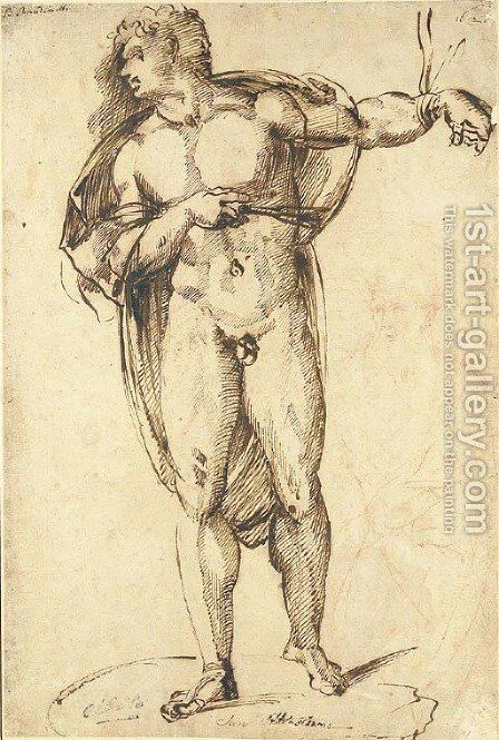 Saint Sebastian, with a study of a bearded figure, three-quarter-length by Baccio Bandinelli - Reproduction Oil Painting