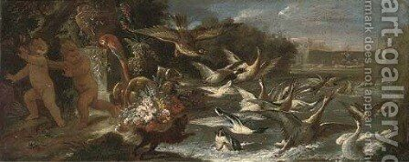 An eagle attacking ducks in a pond with putti escaping in an Italianate garden by Baldassare de Caro - Reproduction Oil Painting