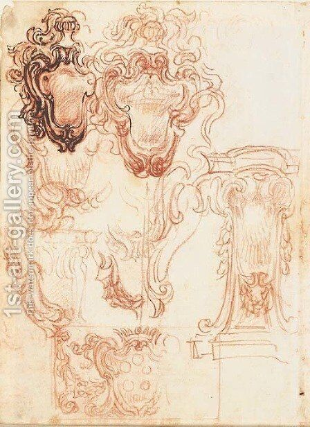 Six designs for pedestals, one bearing a bust by Baldassarre Franceschini - Reproduction Oil Painting