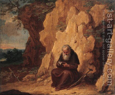 A hermit by a grotto by Balthasar Beschey - Reproduction Oil Painting