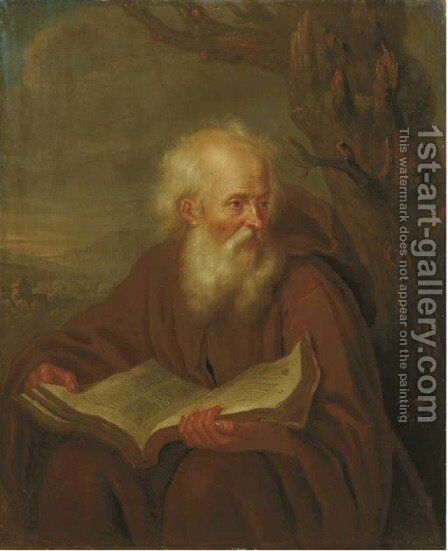 A hermit reading by a tree, a landscape beyond by Balthasar Beschey - Reproduction Oil Painting