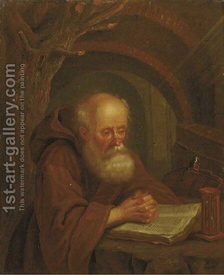 A hermit reading by a vaulted grotto by Balthasar Beschey - Reproduction Oil Painting