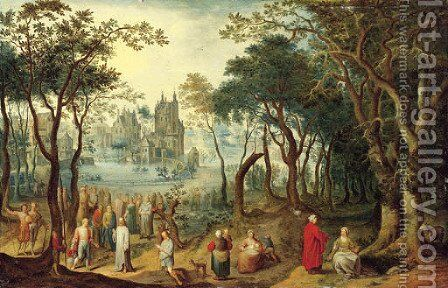 A wooded river landscape with Christ and the Young Ruler, a village beyond by Balthasar Beschey - Reproduction Oil Painting