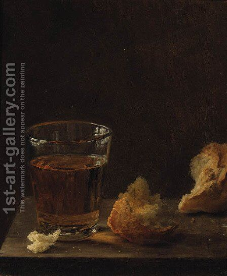 A Glass of Beer and a Bread Roll on a Table by Balthasar Denner - Reproduction Oil Painting