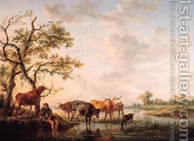 A cowherd watering cattle at sunset by Balthasar Paul Ommeganck - Reproduction Oil Painting
