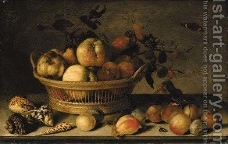 Apples, pears and a branch of mulberries in a basket, with plums, shells, a wasp, a Red Admiral, a grasshopper, a caterpillar and a fly on a ledge by Balthasar Van Der Ast - Reproduction Oil Painting