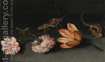 Carnations, a parrot tulip, a grasshopper and a lizard on a ledge by Balthasar Van Der Ast - Reproduction Oil Painting
