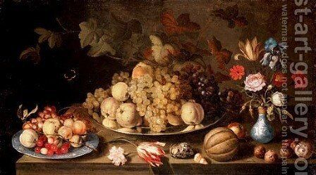 Grapes and pears on a pewter plate, with apples, cherries and grapes on a Wanli plate, flowers in a vase and a melon, nuts and shells on a tabletop by Balthasar Van Der Ast - Reproduction Oil Painting