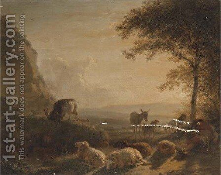 A landscape with a shepherd and his flock at sunset by Balthasar Paul Ommeganck - Reproduction Oil Painting