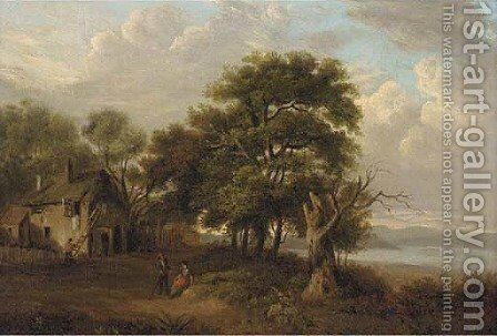 Figures before a cottage in a loch landscape by Barbara Nasmyth - Reproduction Oil Painting